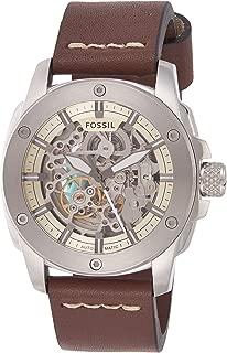 Fossil Men's Modern Machine Watch in Silvertone with Dark Brown Leather Strap
