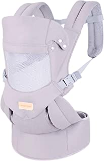 Ergonomic Baby Carrier with Hip Seat Soft & Breathable Baby Carriers,All Positions Front and Back for Infants to Toddlers,Up to 44lbs,Grey (Light Grey)