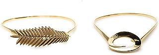 Satyam Kraft 2 Pcs set skiny metal streatchable ladies belt leaf design and bow design 2 pcs set