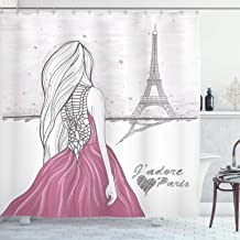 Ambesonne Paris Decor Collection, Romantic Dramatical Woman Looks at Eiffel Tower Love Theme Sketch Style Illustration Print, Polyester Fabric Bathroom Shower Curtain, 84 Inches Extra Long, White Pink