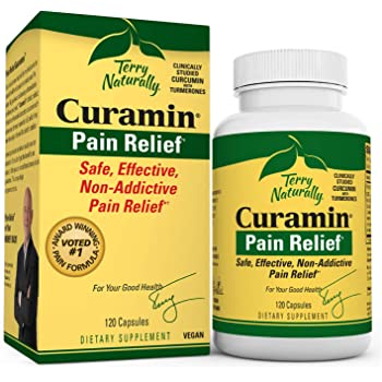 Terry Naturally Curamin - 120 Vegan Capsules - Non-Addictive Pain Relief Supplement with Curcumin from Turmeric, Boswellia & DLPA - Non-GMO, Gluten-Free - 40 Servings