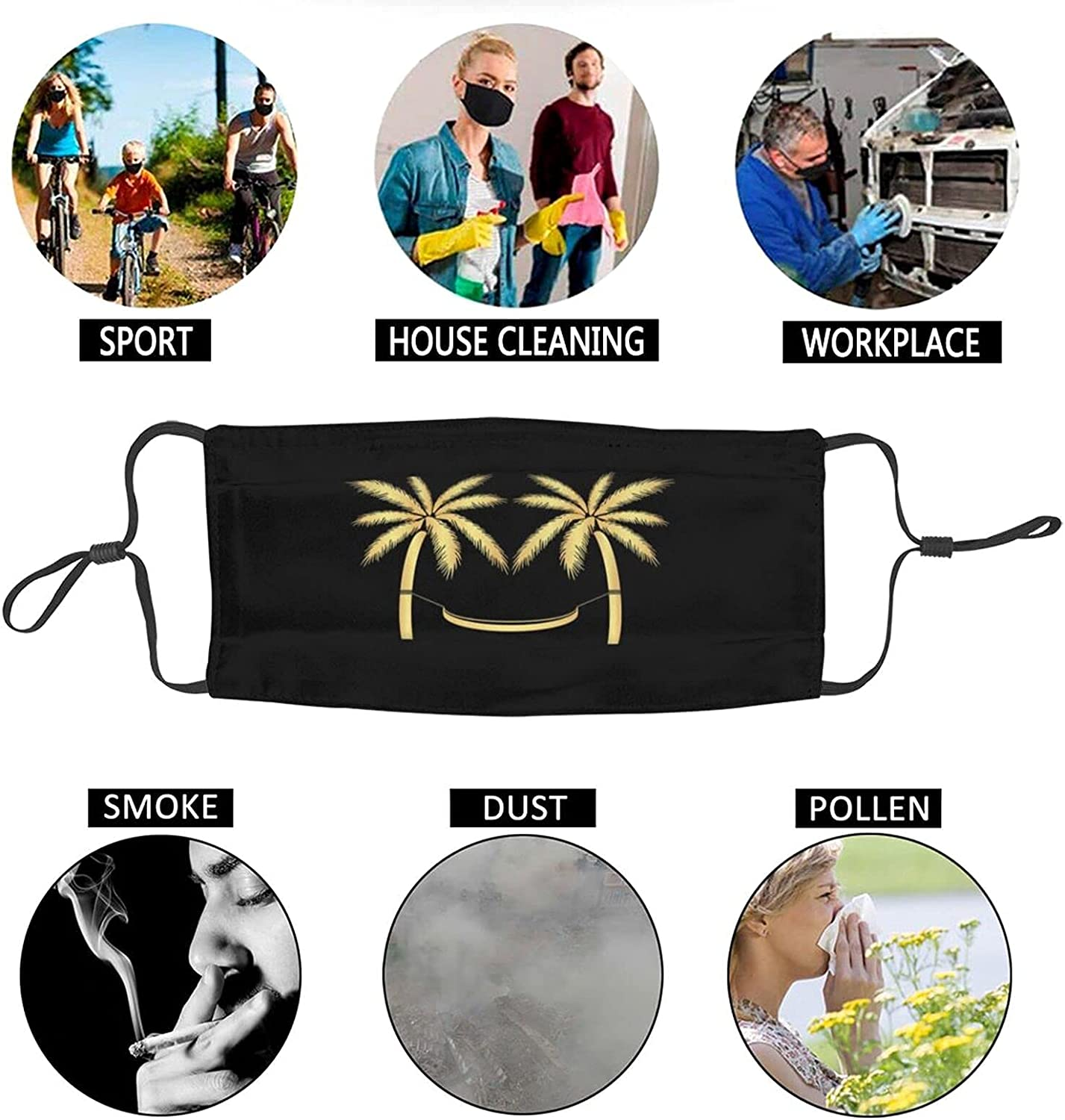 Palm Trees Funny Gold Face Mask, Unisex Reusable Anti-Dust Windproof Face Mask, Outdoor Fashion Bandanas Balaclava Black for Camping Travelling Cycling