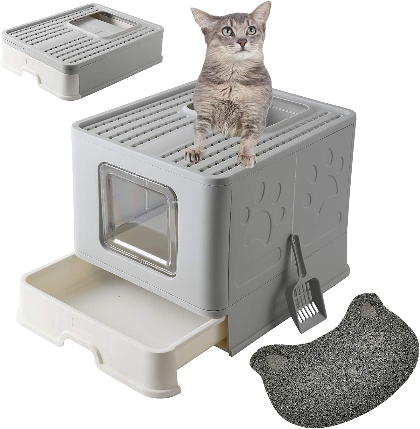 MINIDIO OFFicial shop Foldable Cat Direct store Litter Box Reduces Li with Scoop