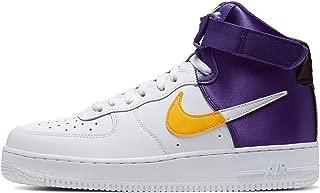 Nike Men's Air Force 1 NBA High Casual Shoes (12, White/Gold/Purple)