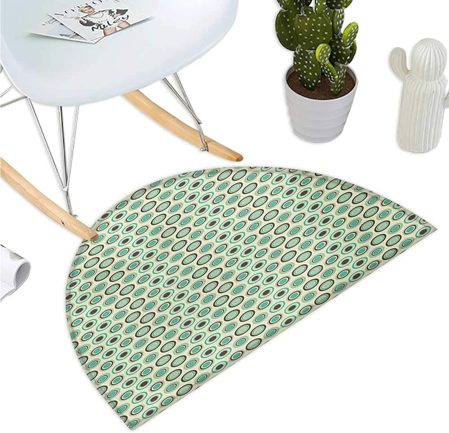 Retro Half Round Door mats Polka Dotted Pattern in Pastel colors Old Fashioned Tile Ring Shapes Bathroom Mat H 39.3  xD 59  Mint Green Dark Taupe Beige
