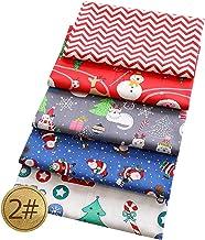 20cm x 20cm Multi-Color Xmas Quilting Craft Fabric Bundles Konsait 10pcs Christmas Cotton Linen Fabric Patchwork Christmas Tree Snowflakes Bells Fat Squares Patchwork for DIY Sewing 7.8 x 7.8