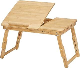 SONGMICS Table de lit pliable, en Bambou, Table pour ordinateur portable, Hauteur réglable, avec Tiroir, Dimensions 54,5 x...