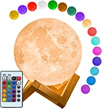 Mydethun Moon Lamp 16 Colors LED 3D Print Moon Light with Stand Remote Touch Control and USB Rechargeable Night Lights Wom...