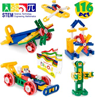 MagicJourney GYRO-RIFFIC MEGA STEM Toys Construction Set Most Popular Engineering Building Set - Classroom Quality Educational Girls & Boys Kids Toys Age 4 to 10 -116 Pieces