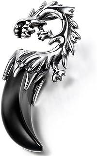 OIDEA Collana per Uomo Collana in Acciaio Inox con Pendente Denti di Drago Tribale,Colore a Scelta
