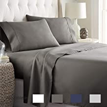 Queen sheets Extra Deep Pockets 15 Inch 500 Thread Count 4 Piece Sheet Set 100% Cotton Sheet Set Dark Grey Solid Sheet,long staple cotton Bedsheet And Pillow Cover,Sateen Finish,Soft,Breadthable
