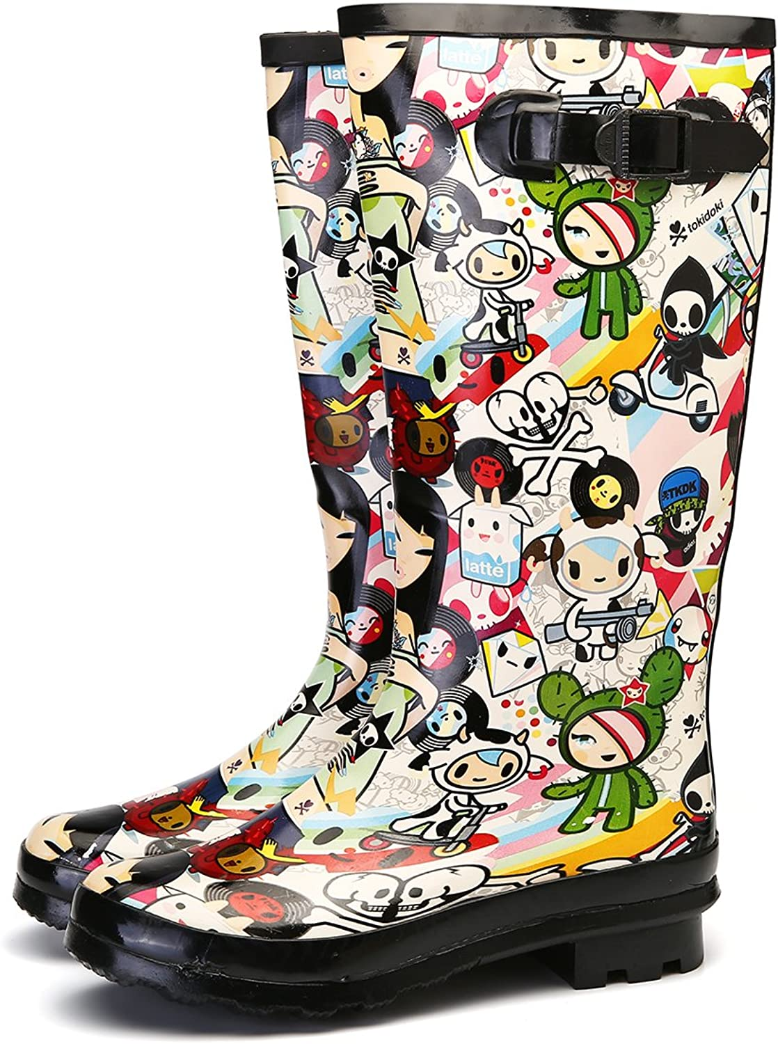 Gracosy Puddles Rain Boots,Young Women Classic colorful Mid Calf Knee High Waterproof Rubber Rain Boots