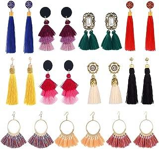 8-54 Pairs Bohemian Colorful Long Fringe Tassel Earrings Set—3 Layer Fan Tassel Hoop Earrings for Women Girls Gift Statement Earrings