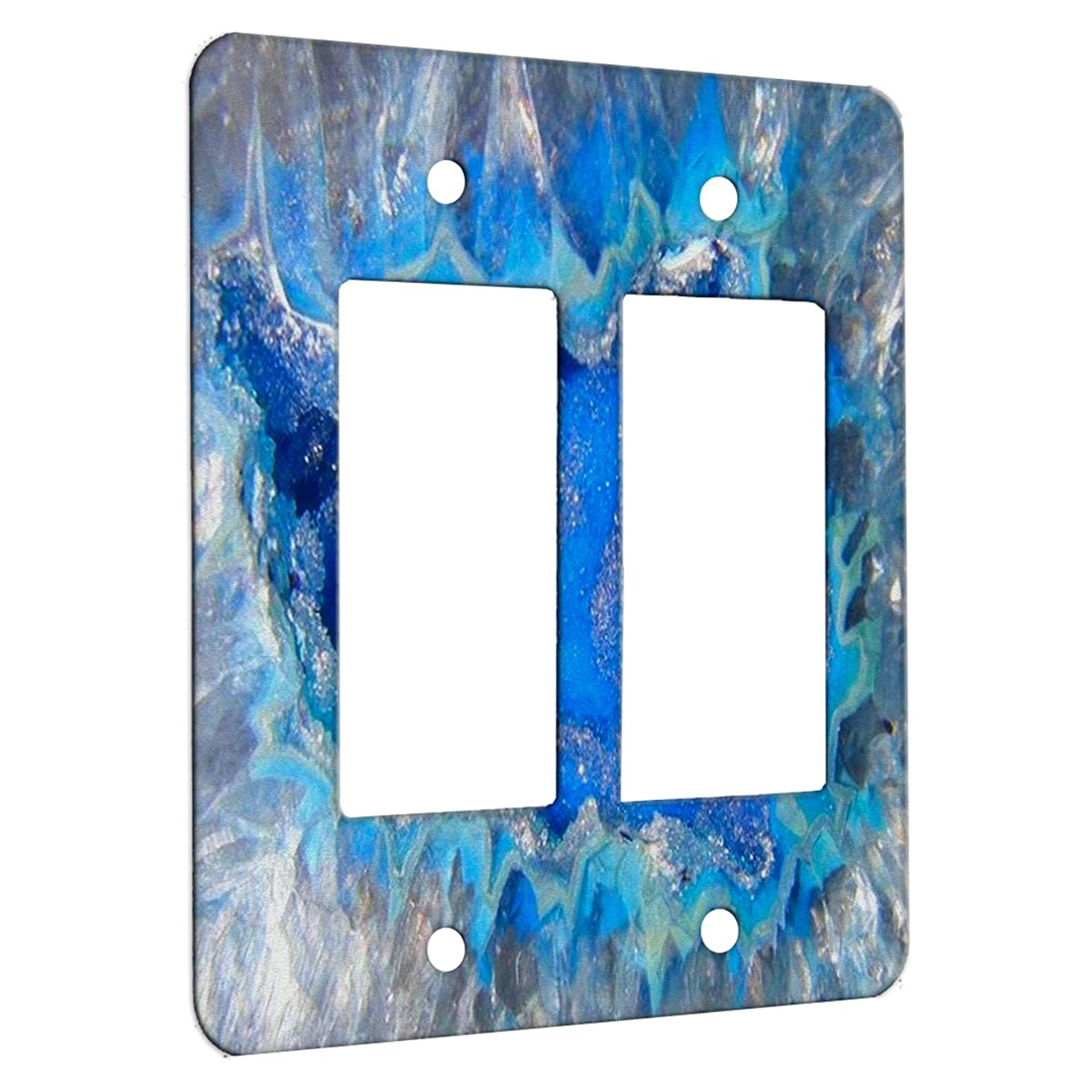 Geode Crystal Azure - Decor Wall Plate Cover Metal (2 Gang Decora)