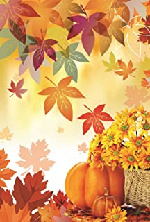 Fall Leaf Pumpkin Garden Flag 12.5 x 18 Autumn Two Sided Yard Decoration