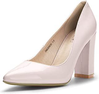 IDIFU Women's IN4 Chunky-HI Classic Closed Pointed Toe Pumps High Chunky Block Heels Dress Office Shoes Pink Size: 9.5