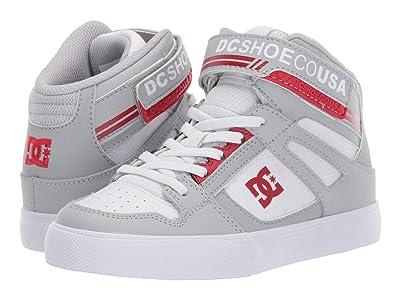 DC Kids Pure High-Top EV (Little Kid/Big Kid) (Grey/Red) Boys Shoes