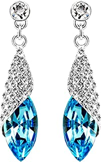 Silver Shoppee Dewdroplet Rhodium Plated K Cubic Zirconia, Swarovski Crystal Alloy Dangle Earring for Girls and Women (Blu...