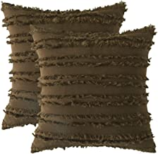 GIGIZAZA Decorative Throw Pillow Covers 20x20,Chocolate Brown Square Couch Pillow Covers,Cotton Sofa Boho Cushion Pillows