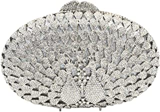 Clutches-Bag Ladies Diamante Sequin Womens-Purses Luxury Chain Evening-Bags Glitter Wedding Peacock