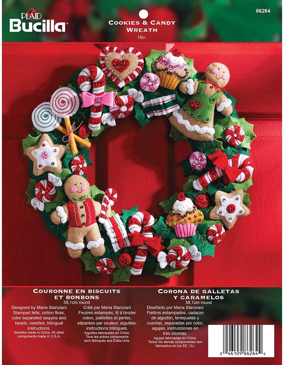 Bucilla Felt Applique Wreath Kit 86264 famous supreme 15-Inch Round Cookies