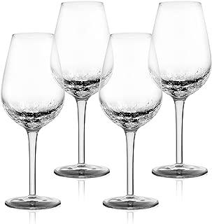 4 Pack Crackle Wine Glasses 14oz- Elegant Partially Crackled Bowl- Long, Thick Stem & Stable Base- Unique Handmade Design Sparkles Like Fractured Ice- Iridescent Wine Glasses set for Red & White Wine