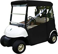"""Golf Cart Cover – 3-Sided """"Over-The-Top"""" Cart Cover for Club Car Precedent –Drivable Golf Cart Cover Enclosure – Marine Grade Vinyl - Black Rain Cover for Golfers– Fits Golf Bags, Rear Seat, Box"""