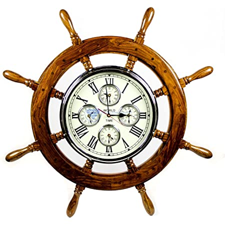Sunbelt Gifts Coastal Round Ship Wheel Wood Wall Clock Item #6404-49