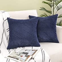 Woaboy Pack of 2 Decorative Corduroy Throw Pillow Covers Soft Solid Cushion Covers Square Modern Style Pillowcases for Cou...