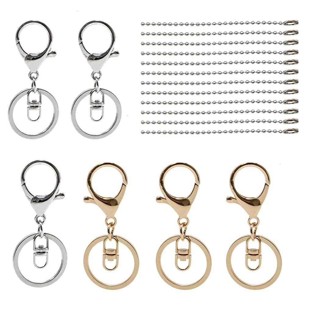 Monrocco 12Pcs Metal Lobster Clasp Keychain Lobster Claw Clasps Findings with with 12Pcs Ball Chain Necklace, Swivel Lanyards Snap Hooks Lobster Clasps for Keychain DIY Bags