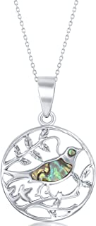 Sterling Silver High Polish Natural Abalone Shell Bird on a Branch 18