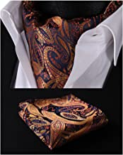 HISDERN Men's Ascot Paisley Floral Jacquard Woven Gift Cravat Tie and Pocket Square Set