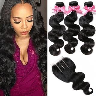Brazilian Virgin Hair 3 Bundles with Closure Brazilian Body Wave 8A 100% Unprocessed Human Hair bundles With Lace Closure Natural Black Color by YAVVE (18
