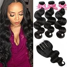 Brazilian Virgin Hair 3 Bundles with Closure Brazilian Body Wave 8A 100% Unprocessed Human Hair bundles With Lace Closure Natural Black Color by YAVVE (16
