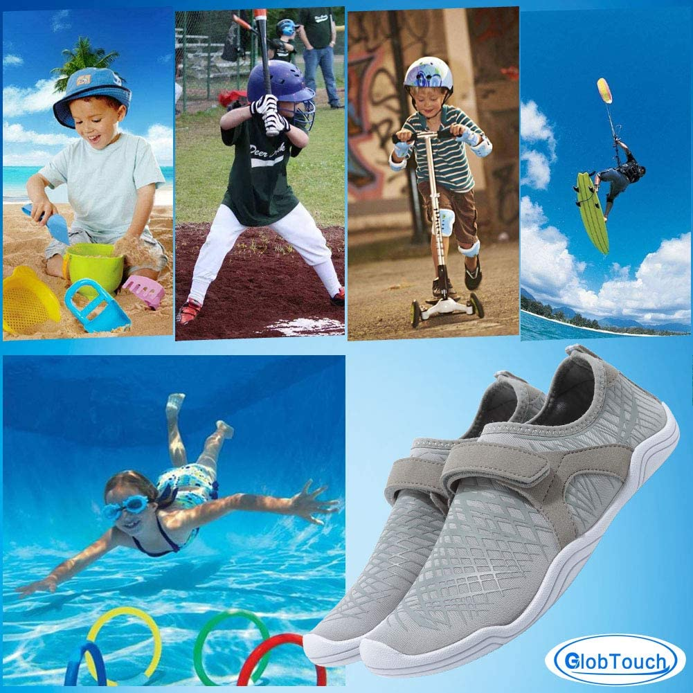 Toddler//Little Kid//Big Kid GLOBTOUCH Boy and Girls Athletic Water Shoes Quick-Dry Slip on Aqua Sock for Beach Pool Swim Surf Walking