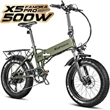 eAhora X5 Pro 4.0 Fat Tire Folding Electric Bicycle 20 inch 500W Electric Bikes for Adults 48V 10.4Ah Cruise Control Snow Beach Electric Bike Lithium Battery Smart E-PAS Power Recharge System 7 Speed