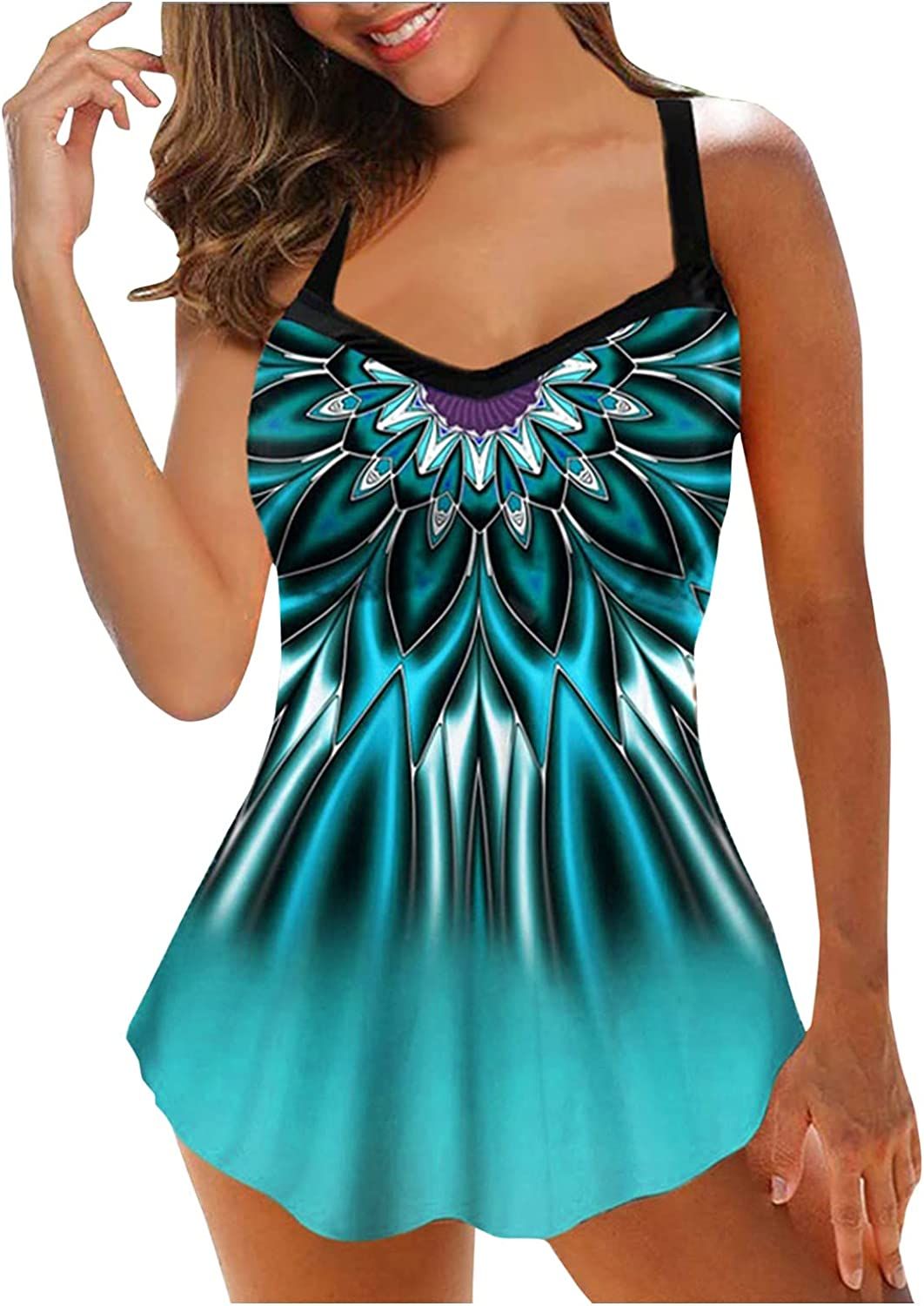 Tankini Swimsuits for Women Plus Size Swimwear Print Strappy Swimdress Tops with Boyshorts Two Piece Bathing Suits