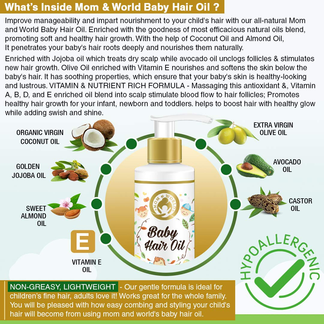 Mom & World Baby Hair Oil With Organic & ColdPressed Natural Oil for Kids 200ml