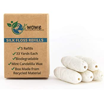 Wowe Natural Biodegradable Peace Silk Dental Floss Refills with Candelilla Wax, 10 Month Supply, 33 Yards Each - 5 Pack (Natural Mint)