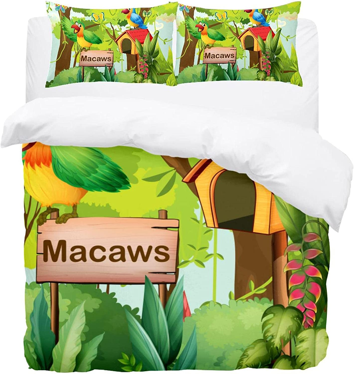 3PCS Bed High quality new Sheet Set Forest free shipping Printed Signboard with Macaws Mailbox