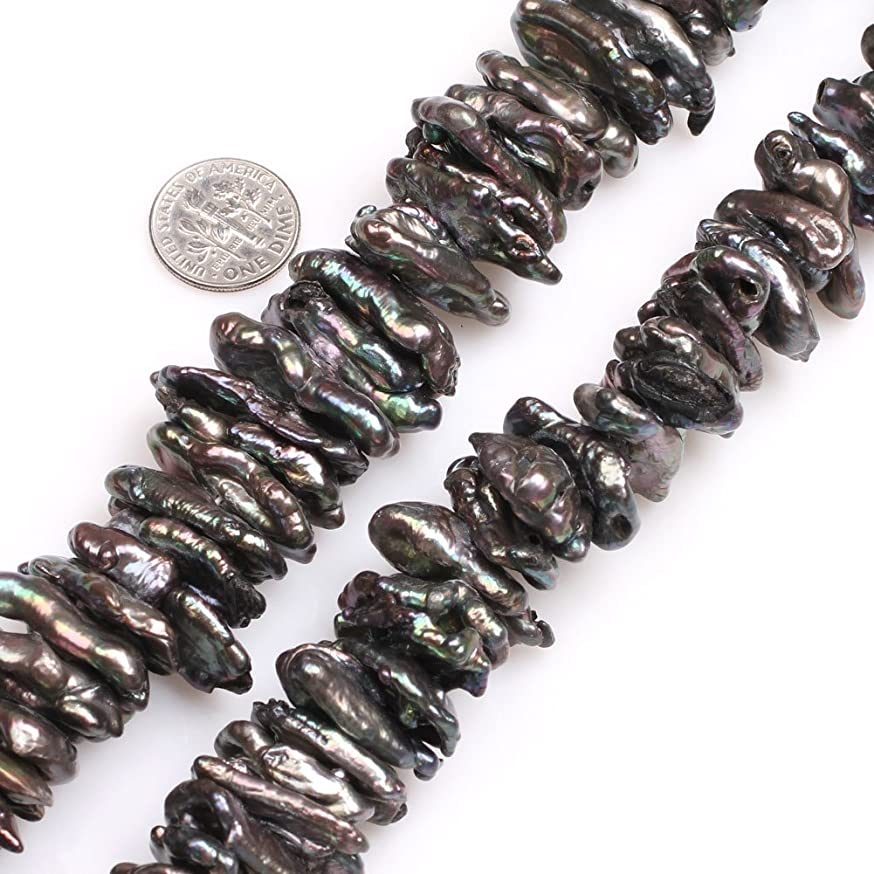 GEM-inside Natural Black Biwa Pearls Gemstone 12x28mm Loose Stick Point Beads for Jewelry Making Jewelry Beading Supplies for Women
