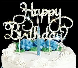 HAPPY BRITHDAY Cake Topper | Premium Bling Crystal Rhinestone Diamond Gems | Birthday or Anniversary Party Decoration Ideas | Quality Metal Alloy | Perfect Keepsake …