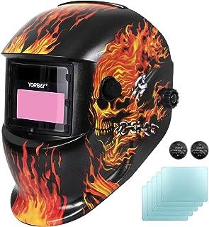 comprar comparacion Yorbay Soldadores máscara de oscurecimiento automático de solar con 5 lentes de repuesto (fuego cráneo) reutilizable