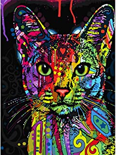 MXJSUA DIY 5D Diamond Painting Full Round Drill Kits Rhinestone Picture Art Craft for Home Wall Decor 12X16In Colored Abstract Cat