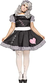 Ladies Sexy Broken Dead Rag Doll + Tights Halloween Fancy Dress Costume Outfit UK 10-26 Plus Size (UK 14-16)