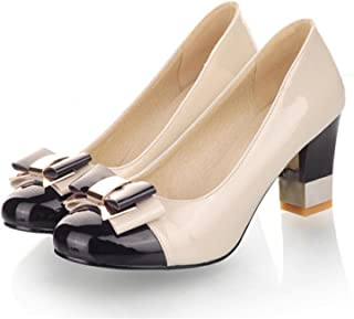 gome-z Plus Size 34-43 Candy Color Women Pumps Shallow Color Block Thick High Heels Shoes Bowtie Pink Working Shoes