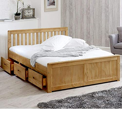 dfd1568699 Happy Beds Mission Wooden Solid Waxed Pine Storage Bed Drawers Furniture  Frame 4'6'
