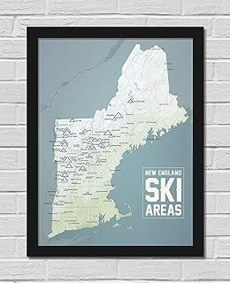 New England Ski Resorts Map FRAMED 18x24 Poster (Natural Earth   Black)