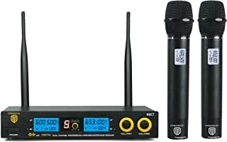 PRORECK MX7 Dual Channel Handheld Wireless Microphone System Receiver Karaoke Machine with LCD Display for Party/Wedding/Church/Conference/Speech (600.5 & 653.1MHz)