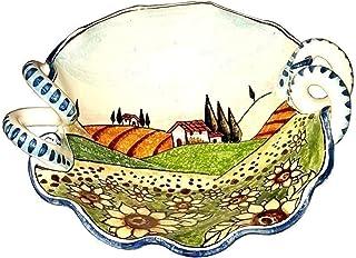 CERAMICHE D'ARTE PARRINI- Ceramica italiana artistica, bolo decorazione paesaggio girasoli, dipinto a mano, made in ITALY ...